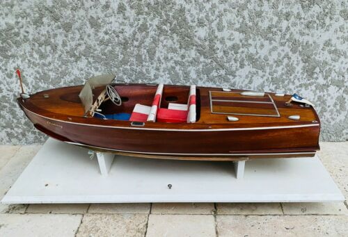 """Vintage CENTURY SEA MAID Hand Made Wood RC Boat 27"""" Stand Electric Motor Servos"""
