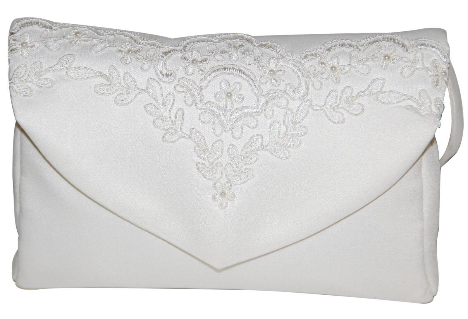 HBH Brautmoden Brauthandtasche aus Satin mit Spitze,Farbe: Ivory, Weiss,Schwarz