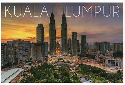 Kuala Lumpur Skyline at Sunset, Malaysia, Petronas Twin Towers - Modern Postcard