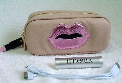 Iphoria Mini Power Purse Pink Lips with Lipstick Charm Veggie Leather - NWT