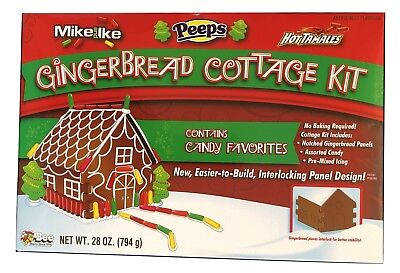 1X Mike & Ike Peeps Hot Tamales Gingerbread Cottage House Kit, No Bake Exp-2019