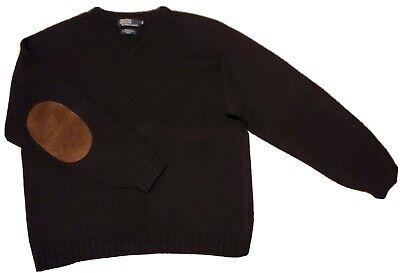 Polo Wool/Alpaca/Cotton V-Neck Sweater Elbow Patches Black Sz XL [VINTAGE]