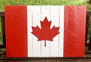 Canadian flag made from pallets