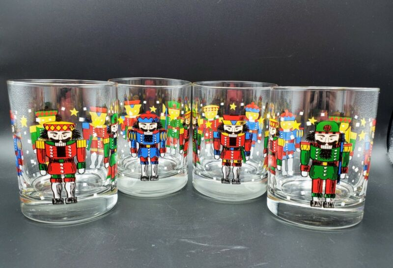 4 Vintage Libbey Nutcracker Christmas Holiday Drinking Glass Double Old Fashion