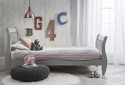 Single Bed in Silk Grey with Sleigh design, Astrid Bed Frame