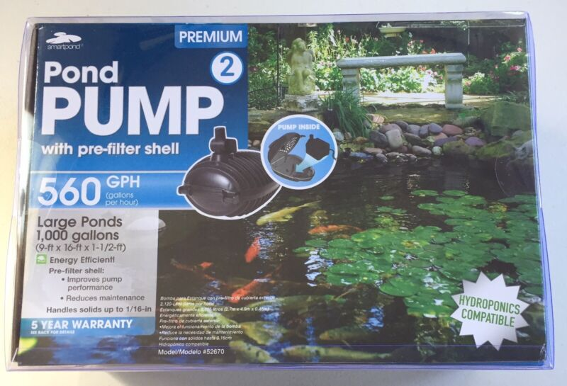 Smart Pond Pump 560 GPH W/ Pre-Filter Shell  #52670 Hydroponic Compatible