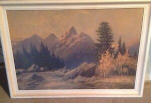 BEAUTIFULLY FRAMED PAINTING OF MOUNTAIN SCENERY