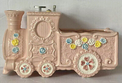 Vintage PINK NAPCO Baby PLANTER/MUSIC BOX Train KITCHY flowers Blue White Yelliw Flower Baby Train
