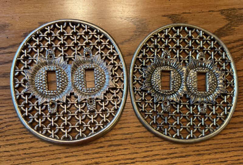 Vintage Midcentury Decorative Metal Light Switch Plate Covers  Dbl