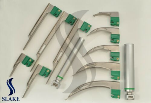 SET OF 10 FIBER OPTIC MAC & MILLER LARYNGOSCOPE BLADE+2 HANDLE INTUBATON