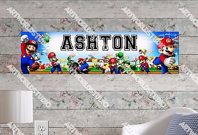 Personalized/Customized Super Mario Name Poster Wall Art Decoration Banner - Super Mario Banner