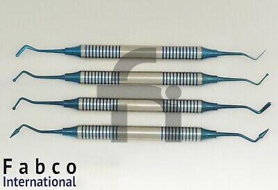 4pcs Set Blue Titanium Coated Dental Composite Placement Contouring Instruments
