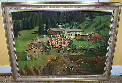 RARE EDUARD HETZ OIL PAINTING GERMAN ALPS EUROPEAN LISTED MUNICH GERMANY
