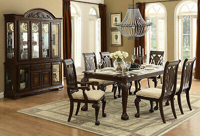 Traditional Cherry Brown Rectangular Dining Room Table & Chairs 7pcs Set - IC5P Cherry Rectangular Dining Table Set
