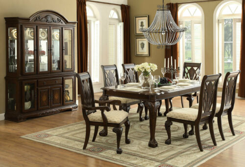 Traditional Cherry Brown Rectangular Dining Room Table & Chairs 7pcs Set - Ic5p