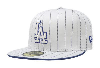 New Era Cap Pinstripe Cap (New Era 59Fifty Cap MLB Los Angeles Dodgers Mens Womens White Blue Pinstripe Hat)