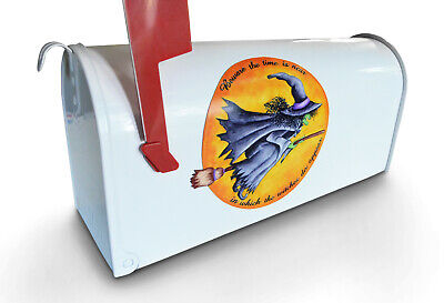 Witch Flying on Broomstick Halloween Mailbox Magnet Like A Hand Painted Mailbox - Halloween Broomstick