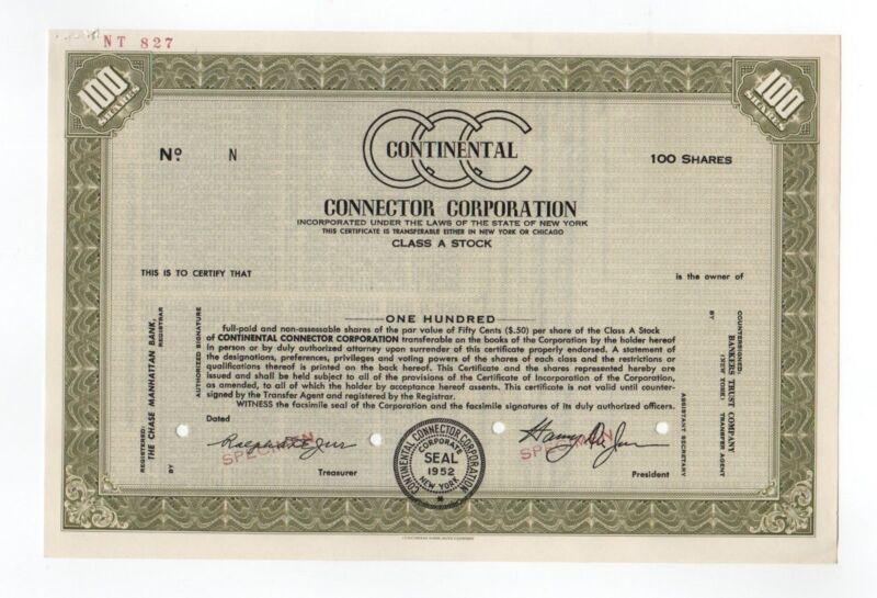 SPECIMEN - Continental Connector Corporation Stock Certificate