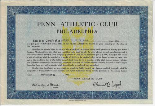 PENNSYLVANIA 1931 Penn Athletic Club Philadelphia Stock Membership Certificate