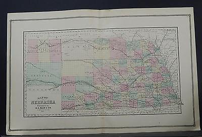 Nebraska, Antique State Map, 1887 Q2#06