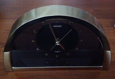 Vintage Working Seiko Quartz Desk Shelf Mantel Clock Brass Smoked Glass QQZ137G