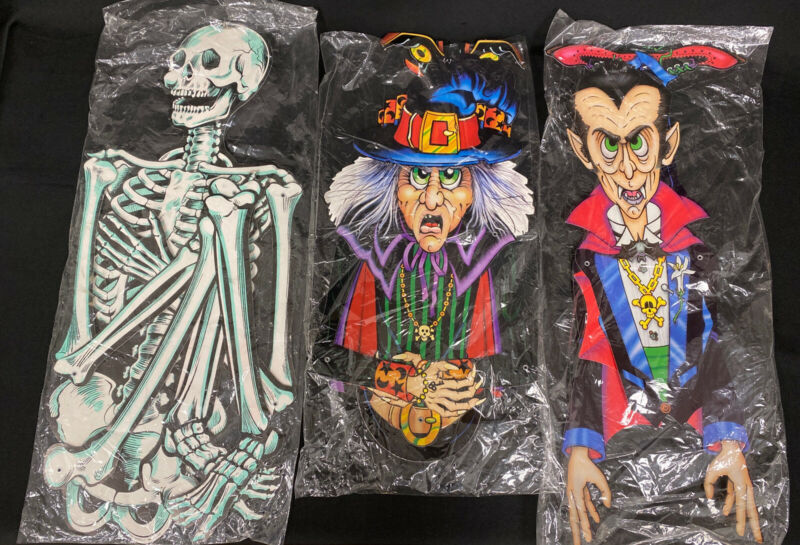 Vtg 1980s 90s Beistle Jointed Witch, Dracula, Skeleton Halloween Decorations