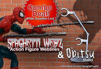 Spaghetti Webz & Obitsu Action Figure Stand Combo - Marvel Legends Spider-Man