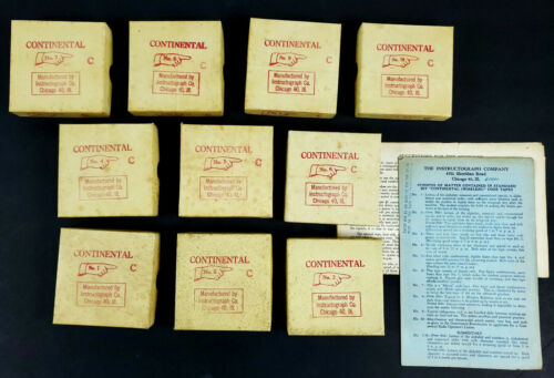 Vintage Instructograph 10 Tape Set Continental Morse Code Learning Course Tapes