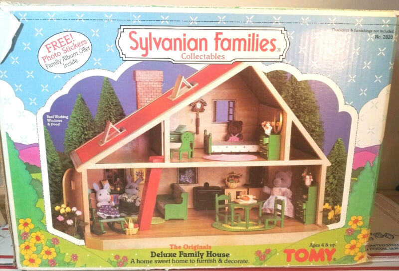 1985 Original Deluxe Family HOUSE Maple Town Play Set Box modern Calico Critters