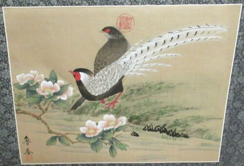 CHINESE VINTAGE ORIGINAL WATERCOLOR BIRDS PAINTING SIGNED