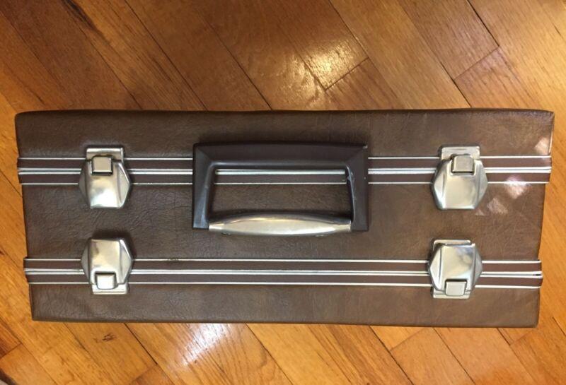 Vintage Case 48 Cassette Tape Holder Carry Briefcase Brown
