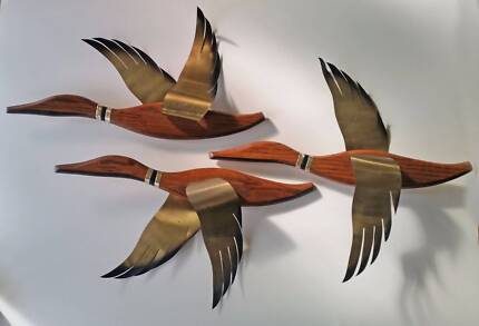 FLYING DUCKS Retro Teak Wooden Mid Century Eames Era Wall Hanging Yarraville Maribyrnong Area Preview