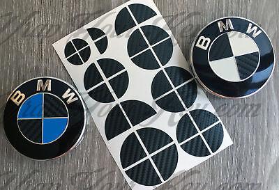 BLACK CARBON FIBER FOR BMW HALF Badge Emblem Overlay Sticker Vinyl FITS ALL BMW
