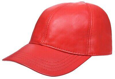 Herren Damen Echt Nappa Leder Rot Einstellbar Golf Snapback Einfarbig Echt Leder Snap