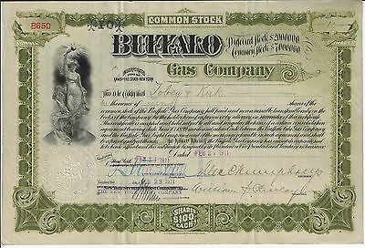 NEW YORK 1911 Buffalo Gas Company Stock Certificate William S Riselay
