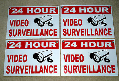 4 24 Hour Video Surveillance Coroplast Sign 12x18 Wgrommets New White Security