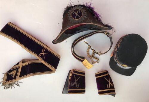 Odd Fellows Fraternal Masonic Hat Belt Cuffs Buckle Sash Knights
