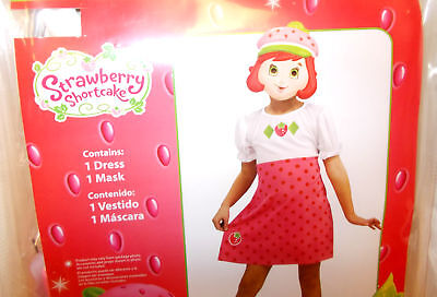 Strawberry Shortcake Pink Dress Mask Child Costume 3-4T NIP - Strawberry Shortcake Girls Costume