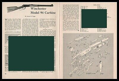 1958 WINCHESTER 94 Carbine Exploded Parts List 2pg Disassembly Assembly Article