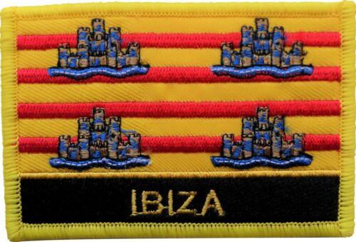 Spain Balearic Islands Ibiza Flag Embroidered Patch - Sew or Iron on