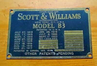 Scott & Williams Metal Plate Model B3 Industrial Brass 1925 Vintage