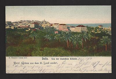 """AK-Jaffa - von der Deutschen Kolonie,gel. 1904 """"Jerusalem-Deutsche Post"""""""