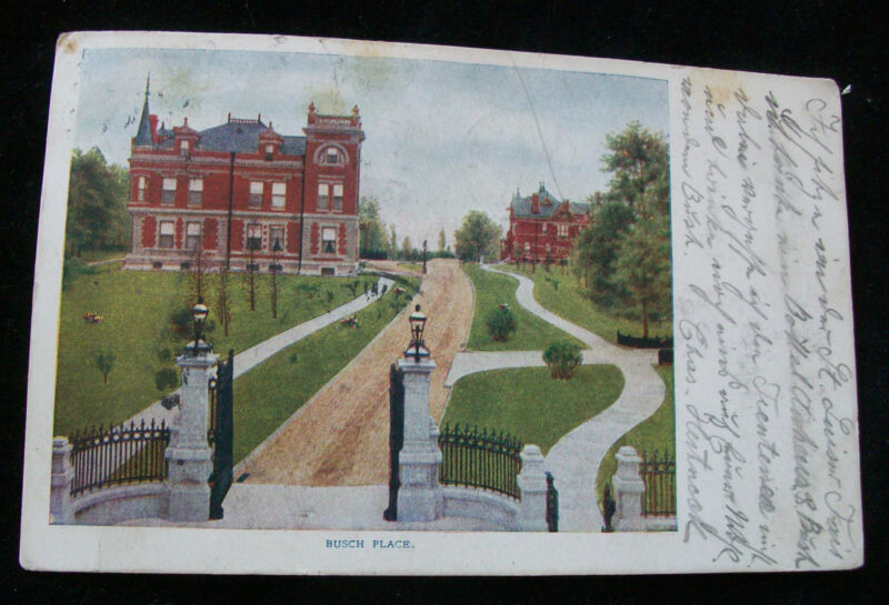 Postcard Busch Place St Louis MO Anheuser Brewing Ass'n Beer Unsplit PM 1904