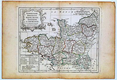 c.1780 Genuine Antique Map NW France, Normandie, Bretagne. De Vaugondy