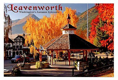 Leavenworth Washington Postcard Gazebo Maypole Fall Leaves Colors New Maifest