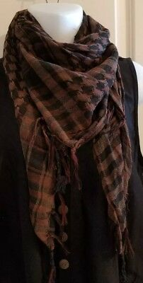Brown NECK SCARF WRAP SQUARE Houndstooth Plaid Pashmina  37x37 with fringe Plaid Neck Wrap