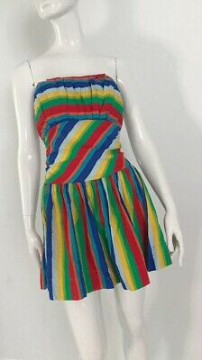 80s Dresses | Casual to Party Dresses Authentic Vintage 1980's Colourful Striped Strapless Mini Dress $26.21 AT vintagedancer.com