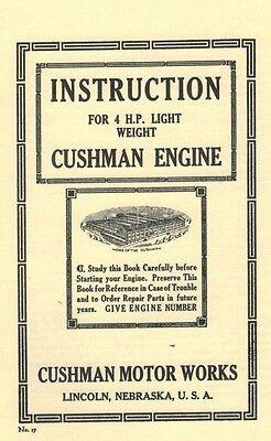 Cushman Gas Engine Motor 4 H.P Light weight  Instruction Book