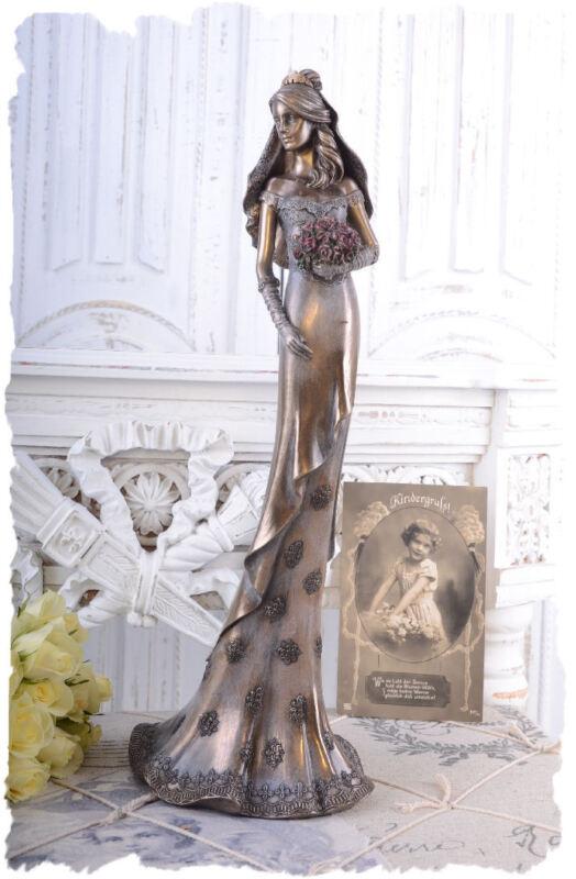 Graceful+woman+sculpture+bride+with+rose+wedding+bouquet+decoration+figure+new
