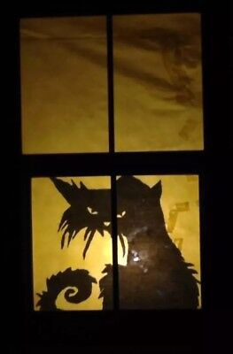"Halloween Window Silhouette Black Cat 34"" x 25"" Holiday Decorations - Halloween Window Silhouette"